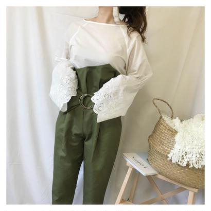 high waist design pants (カーキ)