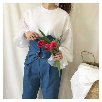 high waist design pants (ブルー)