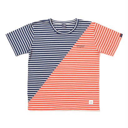 【APPLEBUM】Mix Border T-shirt [Navy/Orange]