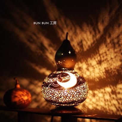 ひょうたんランプ---月夜の星の河 月と猫