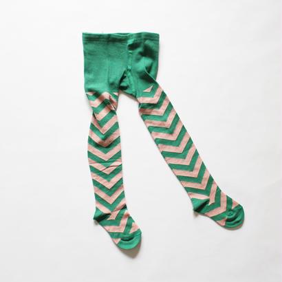 Kids tights chevron pattern / green pink