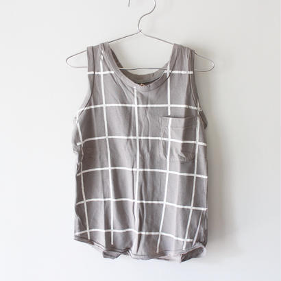 Kids grid raglan tank / cement