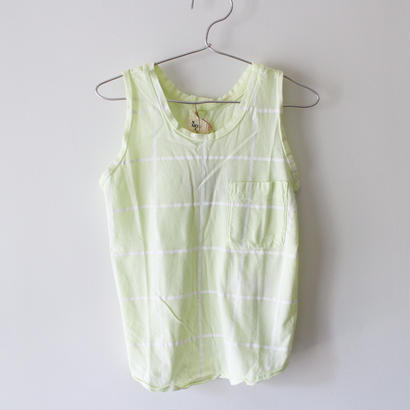 Kids grid raglan tank / lemon