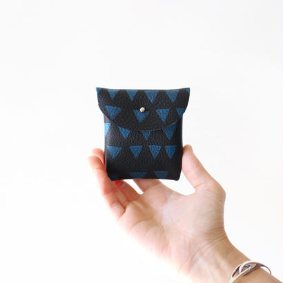 Handmade coin case / black leather × blue triangles