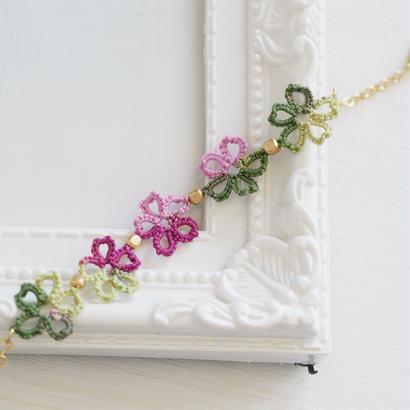 レースの桜ブレスレット (ピンク・グリーンMIX)