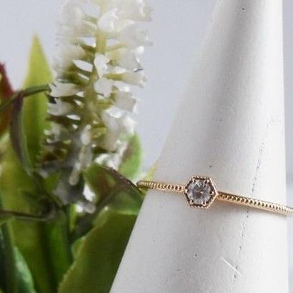K10YG/【KIKKO DIAMOND / 亀甲ダイヤモンド】ダイヤダイヤリング(S)0.08ct (R10072Y-S)