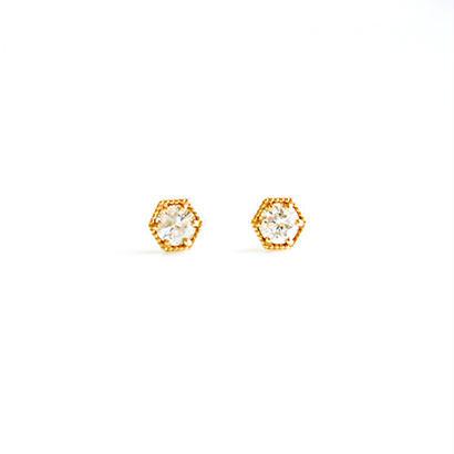 K10YG/【KIKKO DIAMOND / 亀甲ダイヤモンド】ダイヤピアス(S)0.16ct (P10072Y-S)