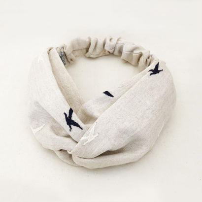 CROSS TURBAN /  Linen Bird Black
