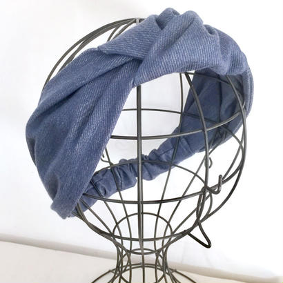 KNOT TURBAN / Denim Blue&Silver