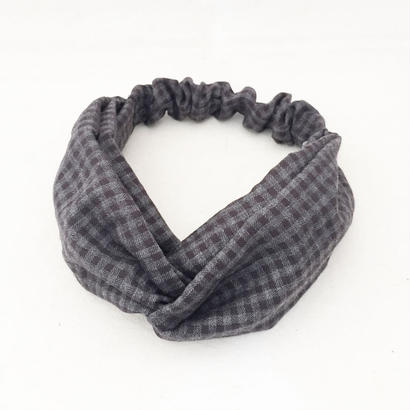 CROSS TURBAN / Gingham Check Grey