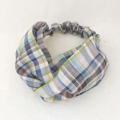 CROSS TURBAN /  Linen Madras Check