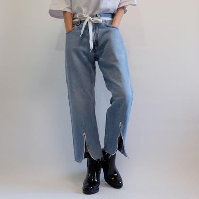 SELENAHELIOS    SHORT ZIP  DENIM PANTS