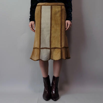 Vintage   Suede Patchiwork  Skirt