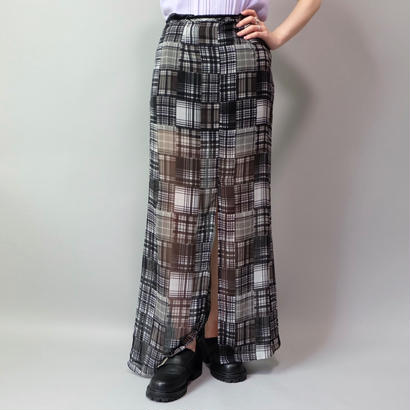Vintage  See-through Check Skirt