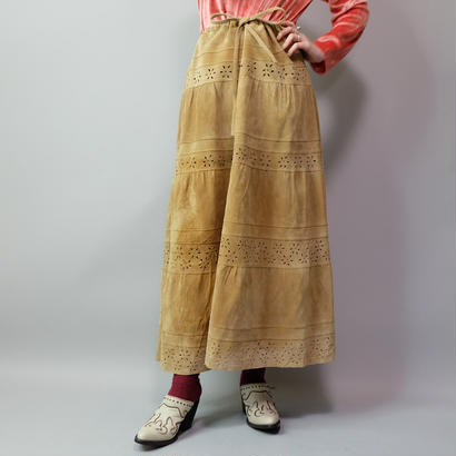 Vintage   Design Suede Long Skirt