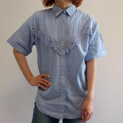 VINTAGE   DENIM FRINGE SHIRTS