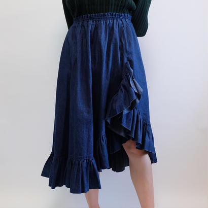 VINTAGE  DENIM FRIL SKIRT