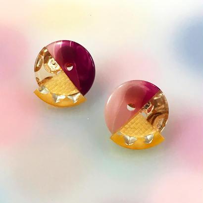 Button earrings ボタンピアス/3トーン・エンジ系マーブル×金スパンコール×ヒマワリ柄