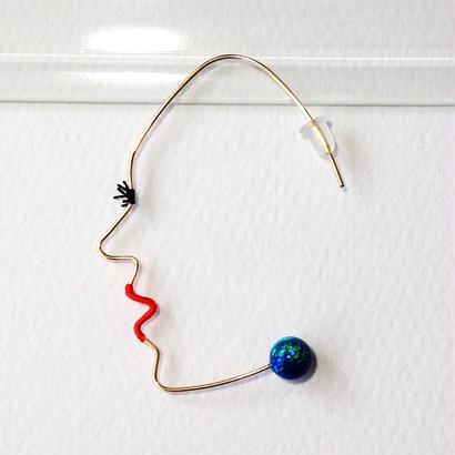 14KGF wire earring/14KGFワイヤーピアス 横顔(片耳)×京都オパール