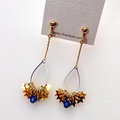Metrocard pierced earrings メトロカードイヤリング/金星形スパンコール×ブルービーズ