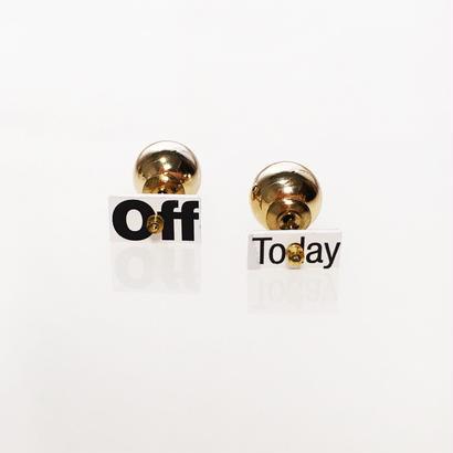 Metrocard pierced earrings メトロカードピアス/メッセージタイプ・off today×メタルパールキャッチ