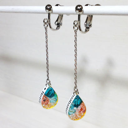 Metrocard earrings メトロカードイヤリング/ドロップタイプ・ブルージルコン、ブルー、ピーチピンク系