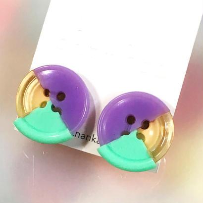 Button earrings ボタンイヤリング/3トーン・パープル×ベージュ×ミント