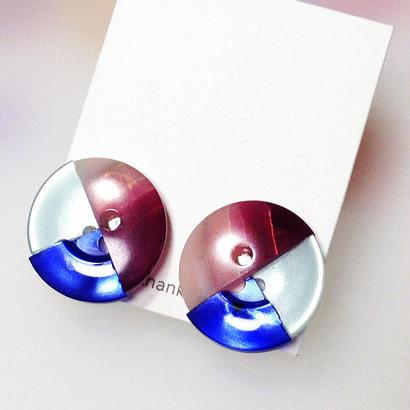Button earrings ボタンイヤリング/3トーン・エンジストライプ×ミント×ブルー
