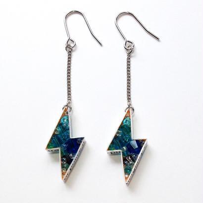 Metrocard pierced earrings メトロカードピアス/サンダータイプ・ブルー系×シルバー