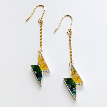 Metrocard pierced earrings メトロカードピアス/サンダータイプ・イエロー・グリーン系×ゴールド