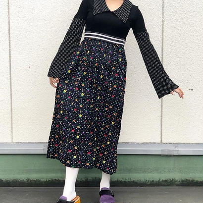 70s Dots×Flower Dress
