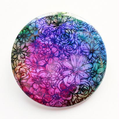 お花のカラフル缶バッチ