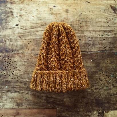 手紡ぎ糸のニット帽
