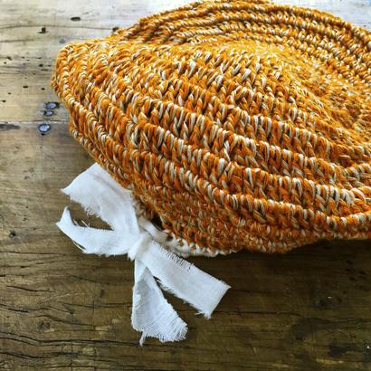 バンブーリネンのベレー帽 *オレンジ*
