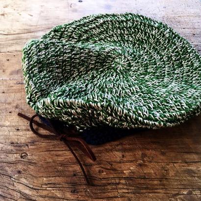 バンブーリネンのベレー帽 *みどり*