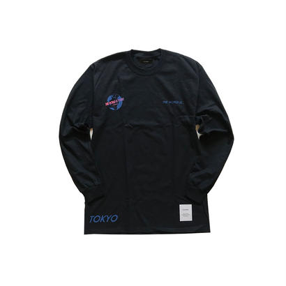 "数量限定 Civiatelier ""The world is yours"" Long Sleeve T-shirts BLK×BLUE"