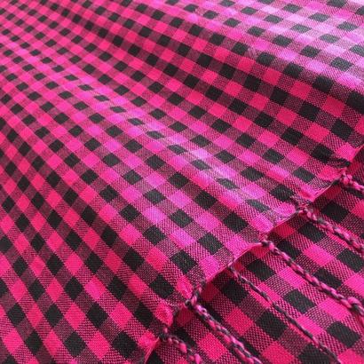 コットン & シルク 手織り大判ストール 【チェック柄  ピンク & ブラック 】