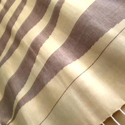 コットン & シルク 手織り大判ストール 【ピラミッド柄 ライトクリーム】