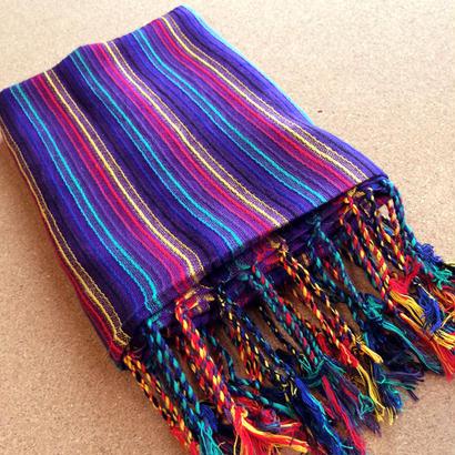コットン & シルク 手織りストール 【ストライプ柄 アフリカンバイオレット】