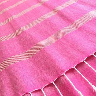 エジプト綿 & シルク 手織り大判ストール【シルクライン柄 パリスピンク レディース】  のコピー