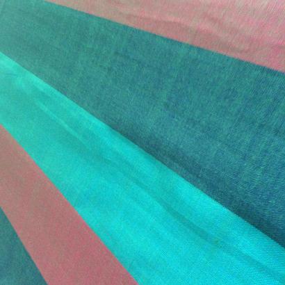 コットン & シルク 手織り大判ストール 【ストライプ柄 グリーン&ピンク】
