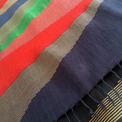 コットン & シルク 手織り大判ストール 【ピラミッド柄 レッド&ブルー&グリーン】