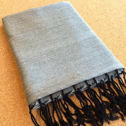 エジプト綿 & シルク 手織りストール 【無地 シルバーグレー】