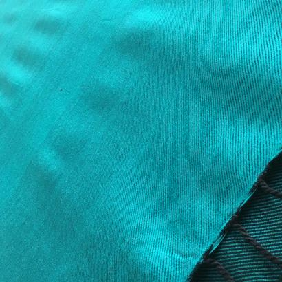 コットン & シルク 手織りストール 【無地 エメラルドグリーン】