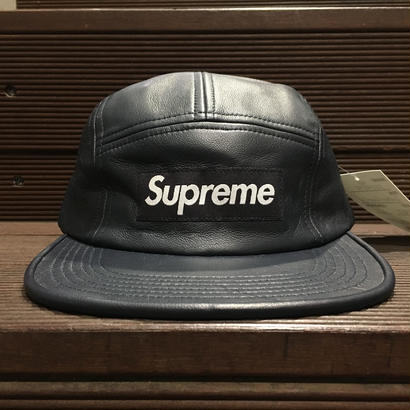 """SUPREME / Leather Camp Cap NVY """"2016A/W"""""""
