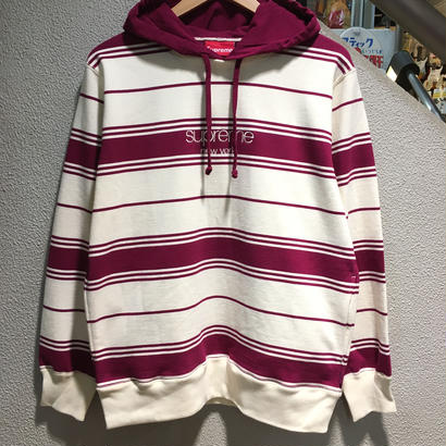 SUPREME / Striped Hooded Crewneck size : M MGT 2016A/W