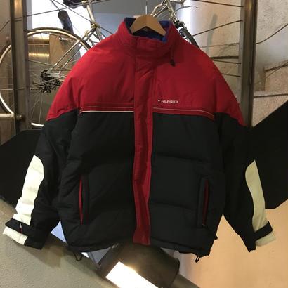 90's VINTAGE TOMMY HILFIGER / Down Jacket size : L RED/NVY/WHT