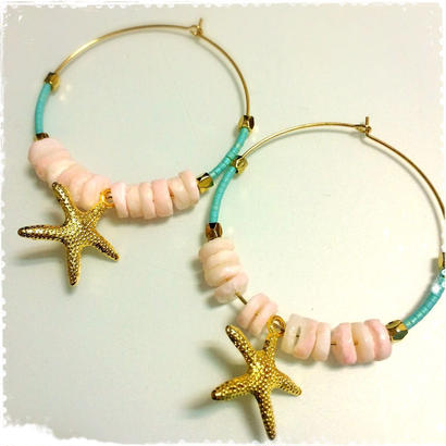 pink shell & starfish pierce