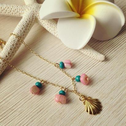 pink shell&gold shell bracelet