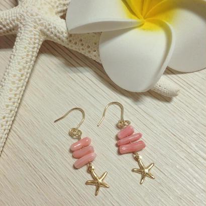 14kgf starfish & pink coral pierce